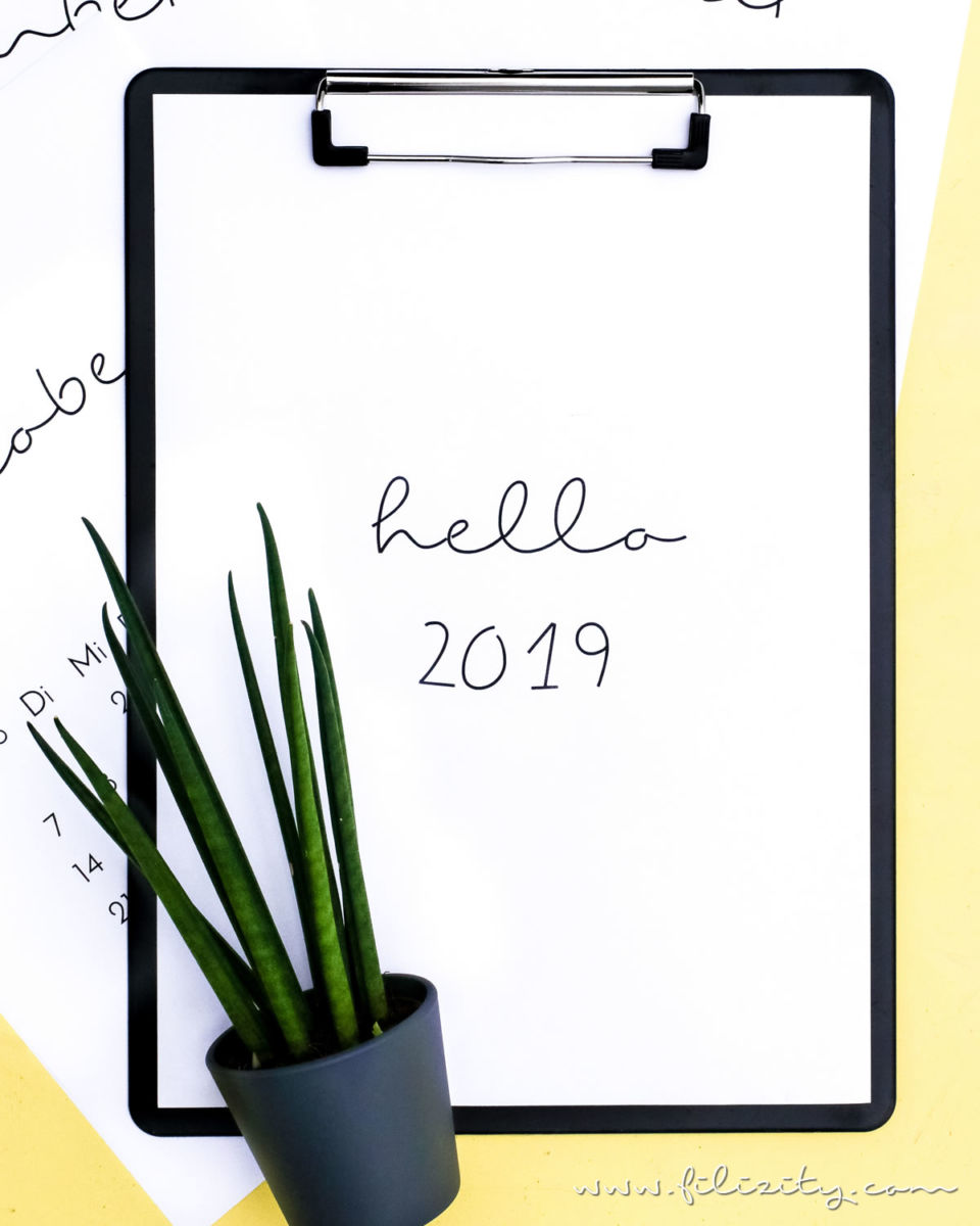 Druckvorlage: Minimalistischer Kalender 2019