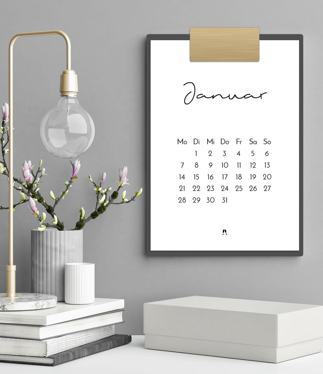 minimalistischer kalender 2019 druckvorlage printable a4. Black Bedroom Furniture Sets. Home Design Ideas