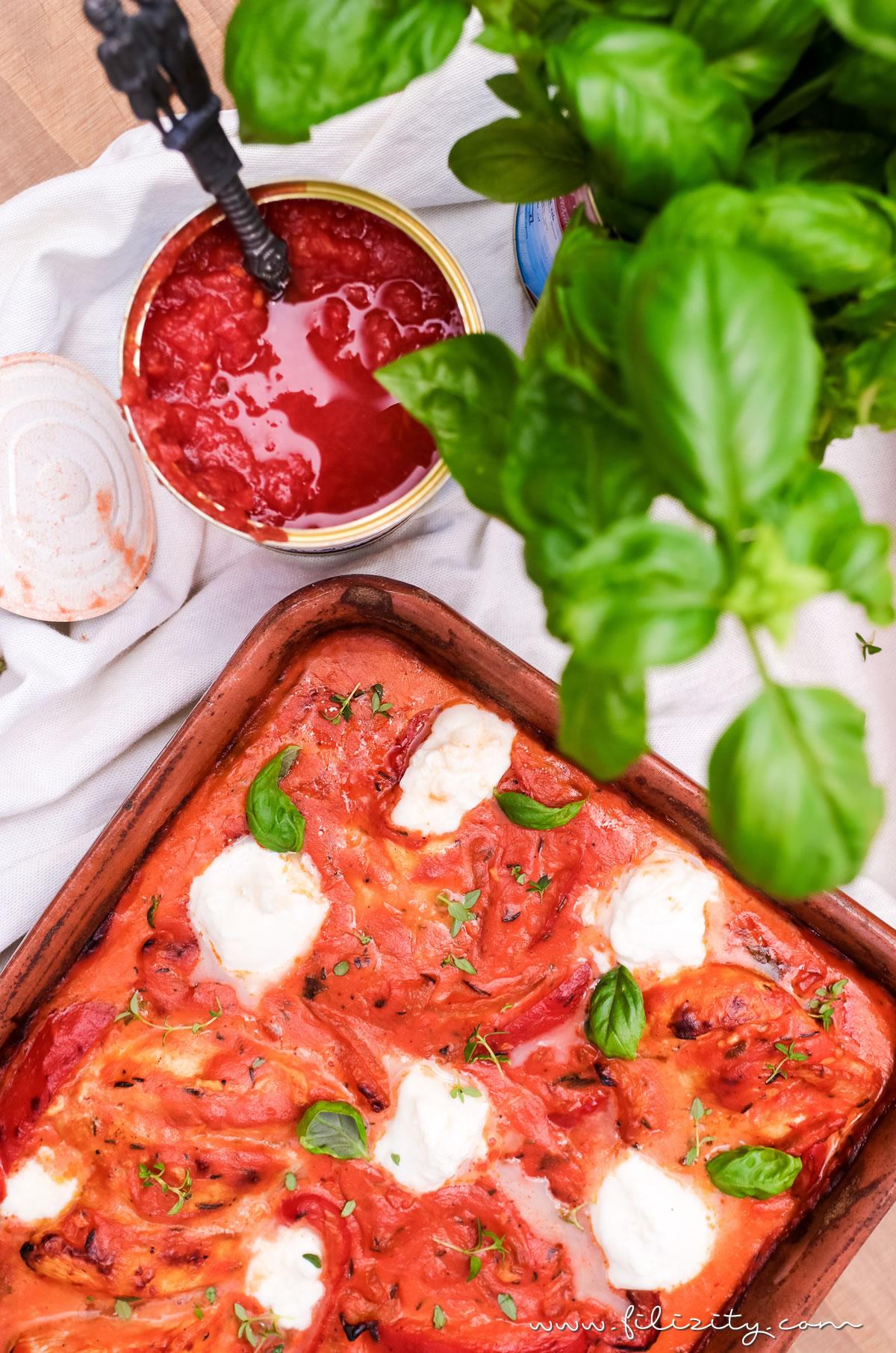 Hähnchen Toskana mit Burrata & frischen Kräutern | Angelehnt an Hackbällchen Toskana | Filizity.com | Food-Blog aus dem Rheinland #mutti #tomaten #toskana #toscana