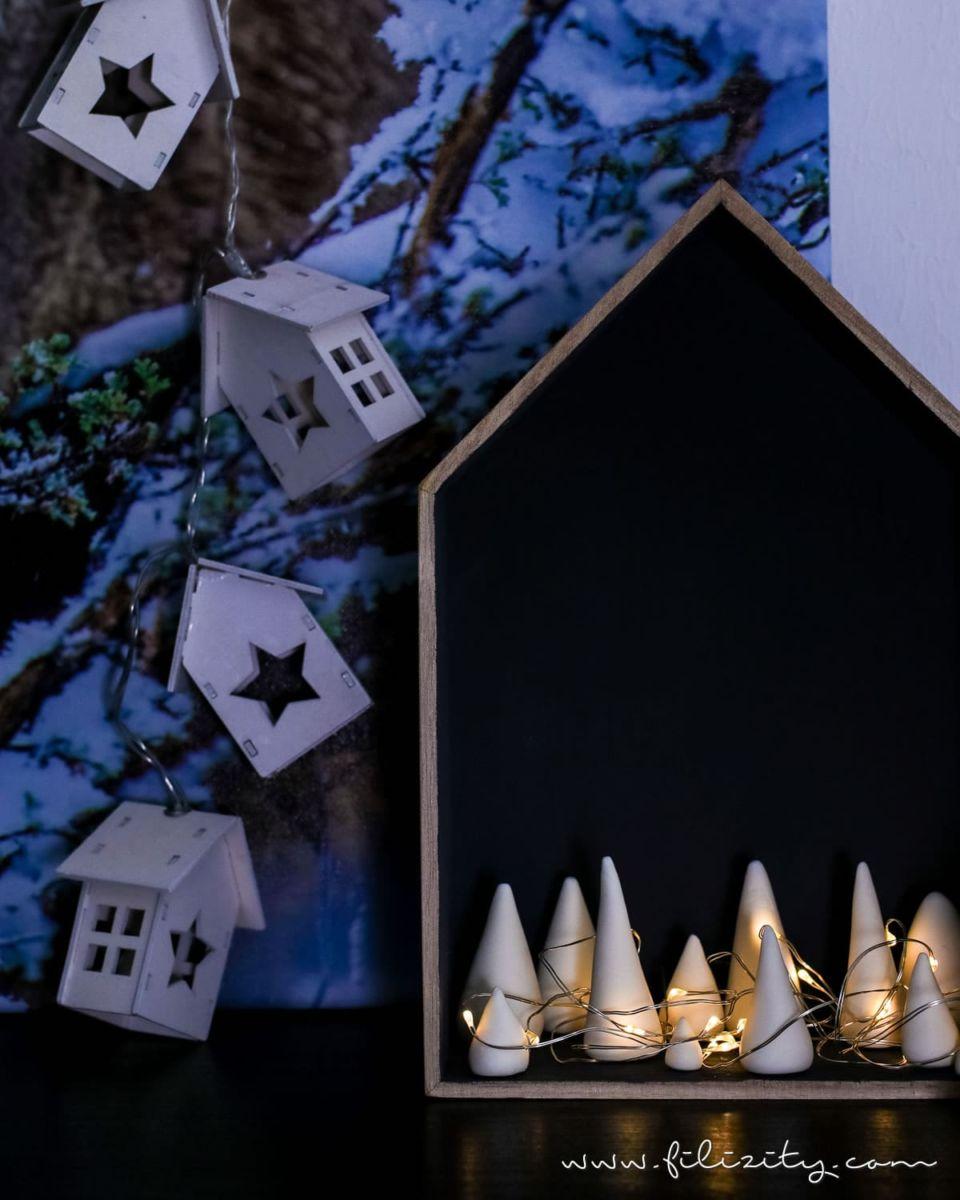 DIY Weihnachtsdeko & Geschenkidee: Leuchtender Winterwald aus Kaltporzellan
