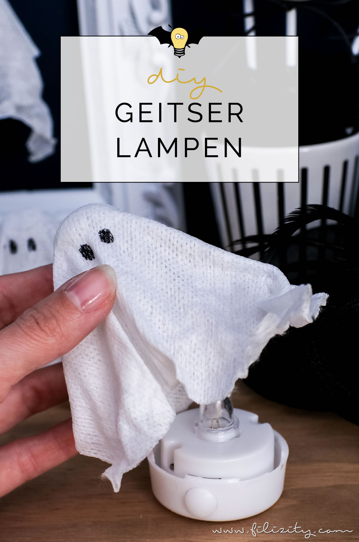 diy halloweendeko selber machen geister lampen und geister anh nger food blog. Black Bedroom Furniture Sets. Home Design Ideas