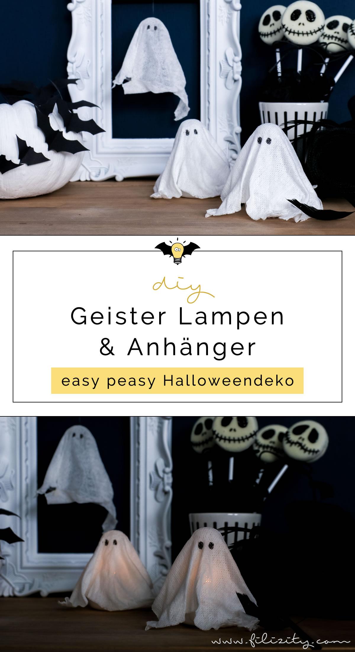 DIY Halloweendeko selber machen: Geister-Lampen und Geister-Anhänger ganz einfach ohne Sauerei basteln | Filizity.com | Food-Blog aus dem Rheinland #halloween #booh #geister