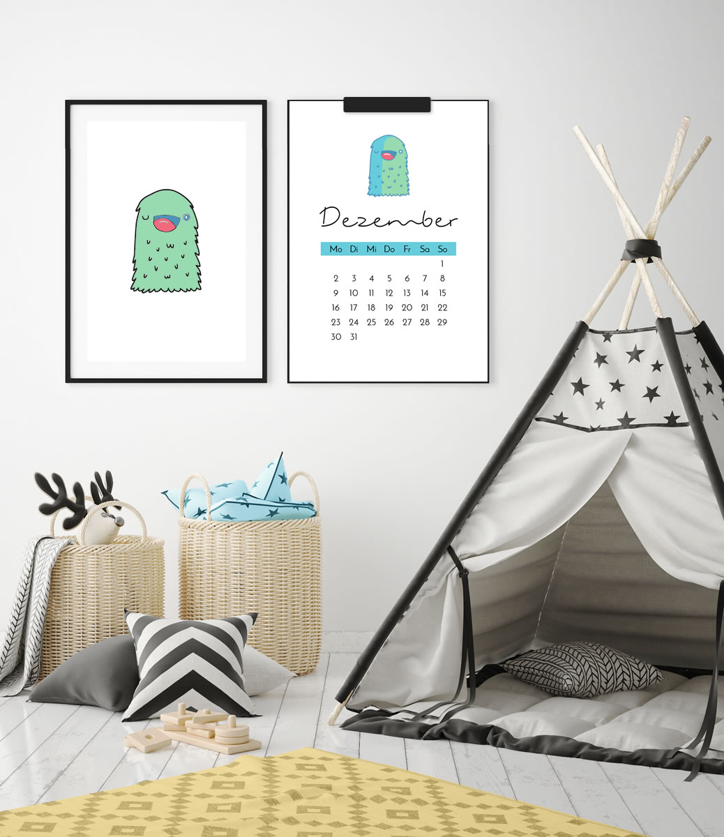 kinder kalender 2019 monster 12 ausmalbilder. Black Bedroom Furniture Sets. Home Design Ideas