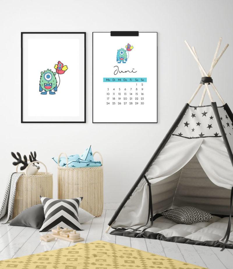 """Kinder-Kalender 2019 """"Monster"""" + 12 Ausmalbilder zum Ausdrucken   Schöne Deko für's Kinderzimmer & tolle DIY Geschenkidee!   Filizity.com   Interior- & DIY-Blog und Shop #kalender #2019 #download #printable"""