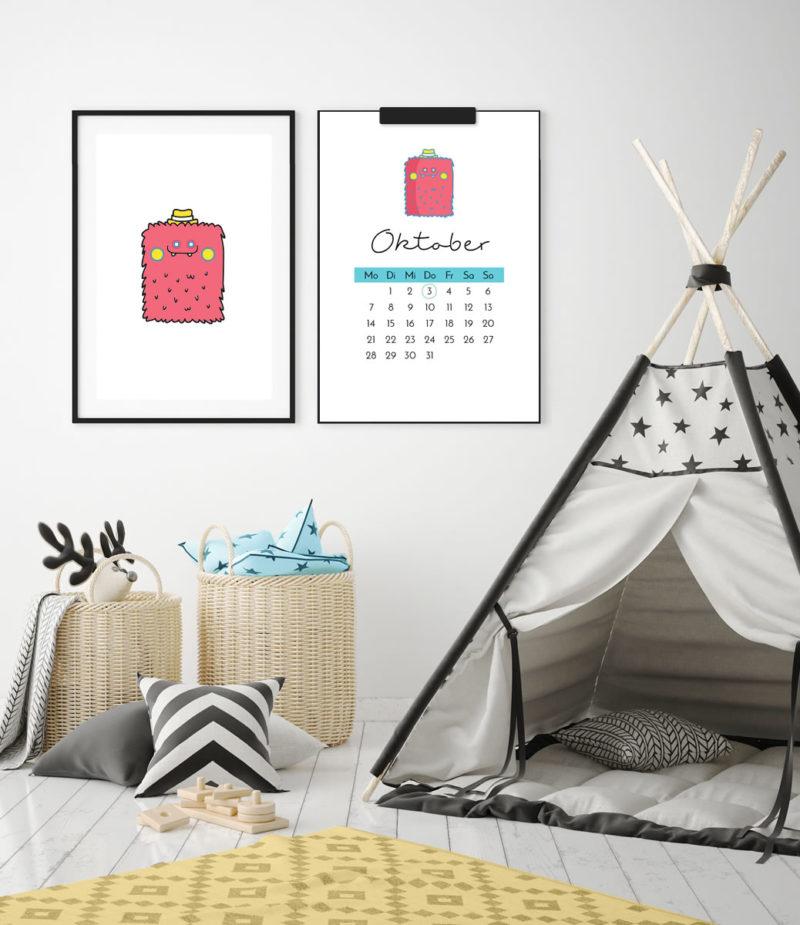 """Kinder-Kalender 2019 """"Monster"""" mit Feiertagen + 12 Ausmalbilder zum Ausdrucken   Schöne Deko für's Kinderzimmer & tolle DIY Geschenkidee!   Filizity.com   Interior- & DIY-Blog und Shop #kalender #2019 #download #printable"""