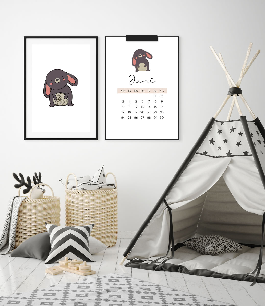 """Kinder-Kalender 2019 """"Waldtiere"""" + 12 Ausmalbilder zum Ausdrucken   Schöne Deko für's Kinderzimmer & tolle DIY Geschenkidee!   Filizity.com   Interior- & DIY-Blog und Shop #kalender #2019 #download #printable"""