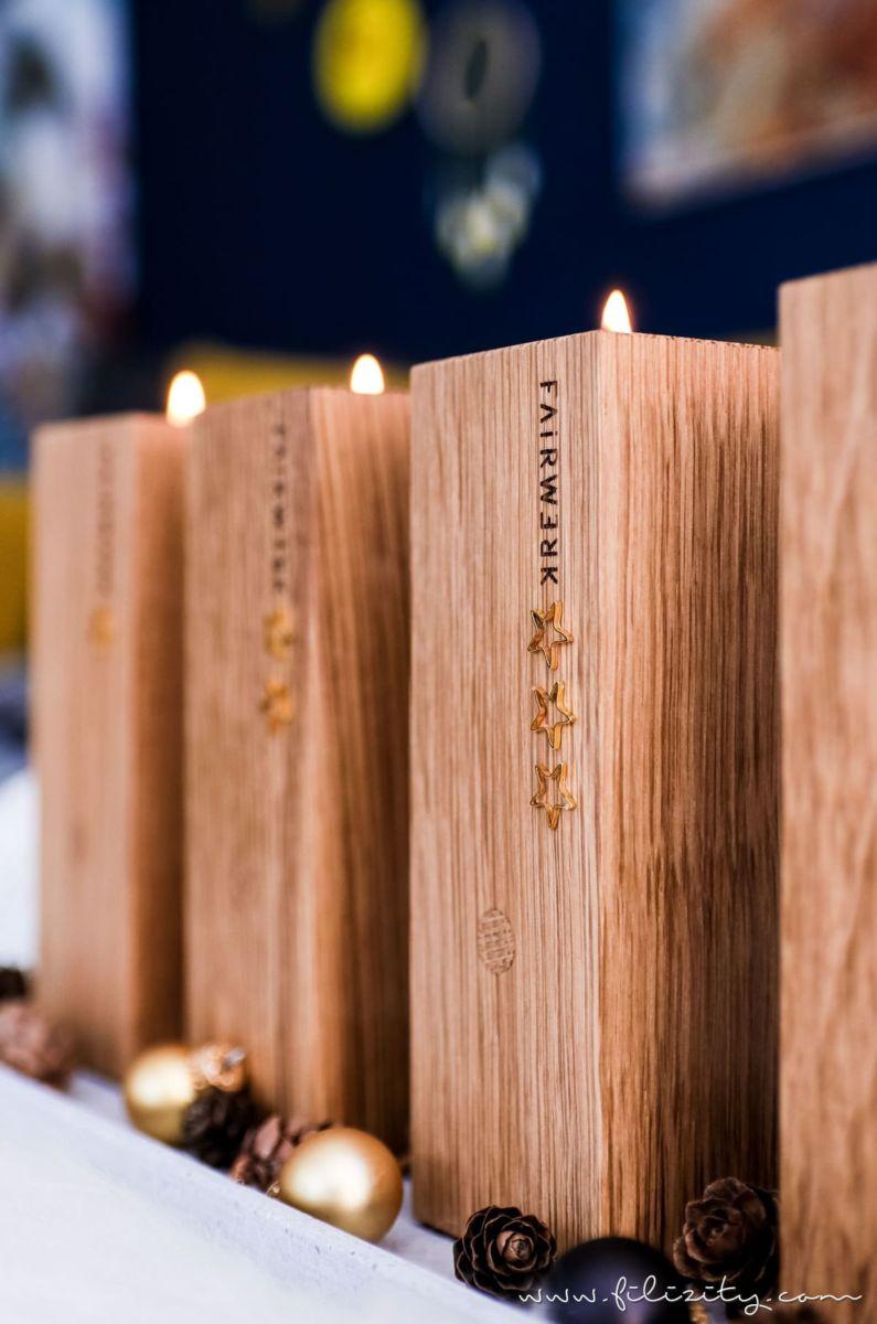 Natürlicher DIY Adventskranz / Adventsteller Mit Holz Kerzenhaltern. Schöne  Weihnachtsdeko Selber Machen Und Gutes Tun Mit FAIRWERK* Designprodukten.