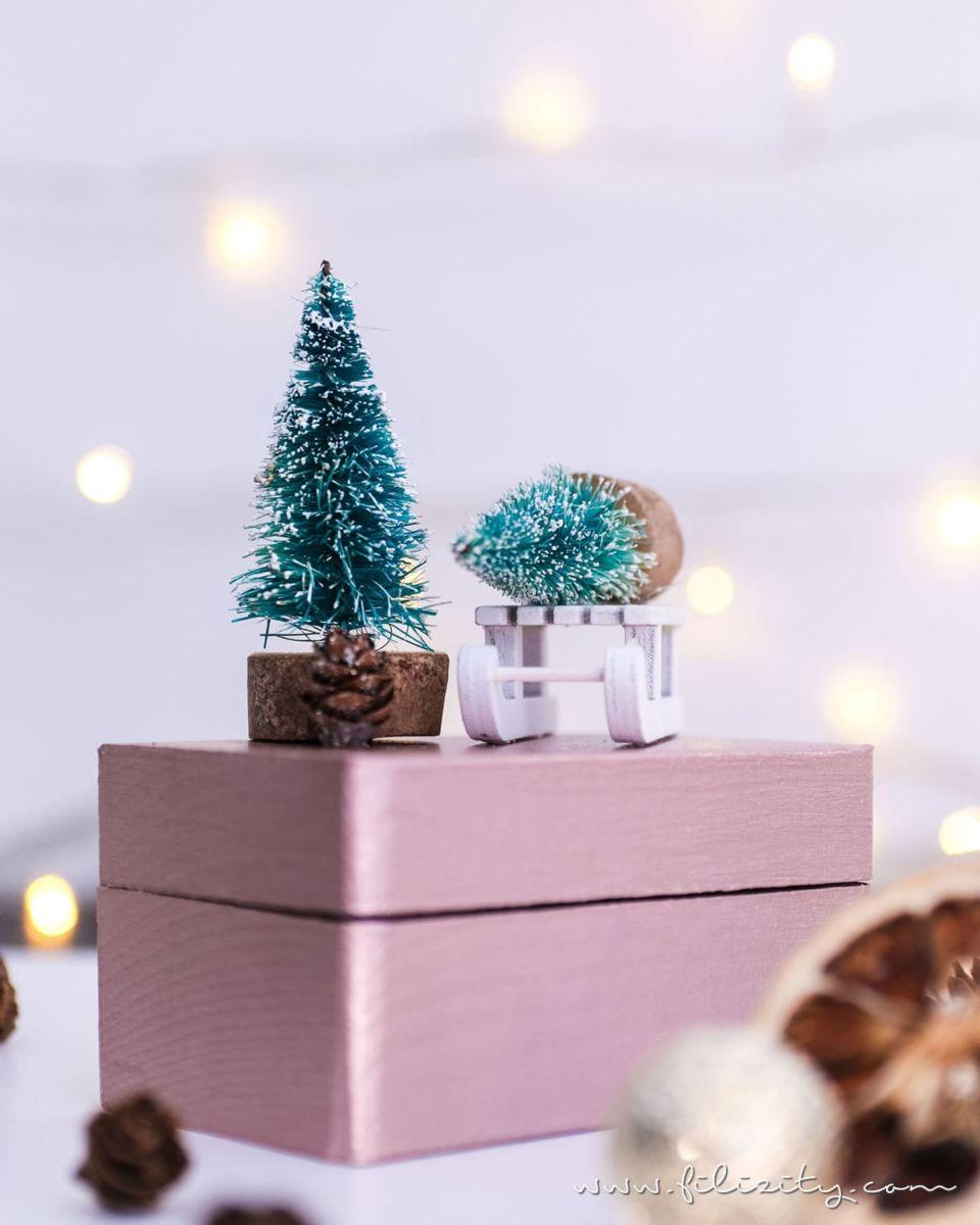 """Weihnachtsgeschenke verpacken: DIY Geschenkboxen """"Winterwald"""""""