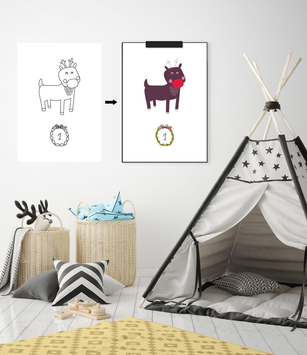 Kinder-Adventskalender zum Ausmalen - 24 weihnachtliche Ausmalbilder (Druckvorlage, A4) | Filizity.com | Interior- & DIY-Blog und Shop
