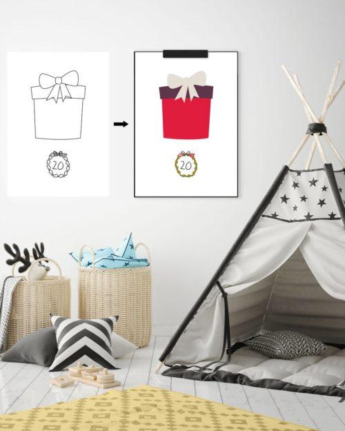Kinder-Adventskalender zum Ausmalen - 24 weihnachtliche Ausmalbilder (Druckvorlage, A4)   Filizity.com   Interior- & DIY-Blog und Shop #printable #download #weihnachten #adventskalender
