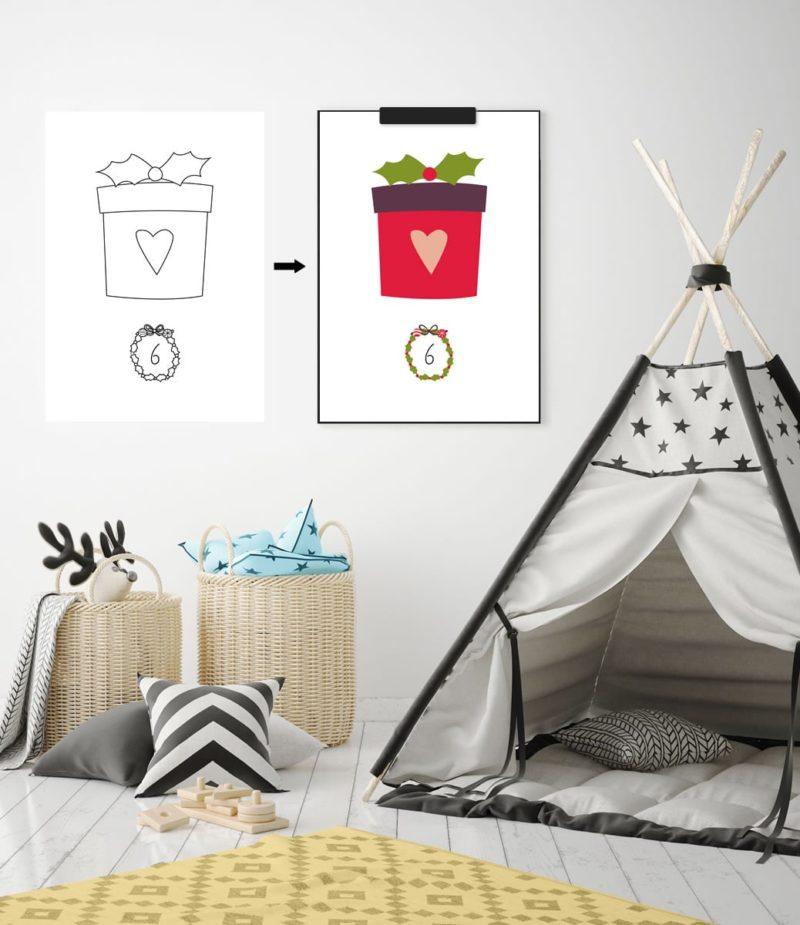 Kinder-Adventskalender zum Ausmalen - 24 weihnachtliche Ausmalbilder (Druckvorlage, A4) | Filizity.com | Interior- & DIY-Blog und Shop #printable #download #weihnachten #adventskalender