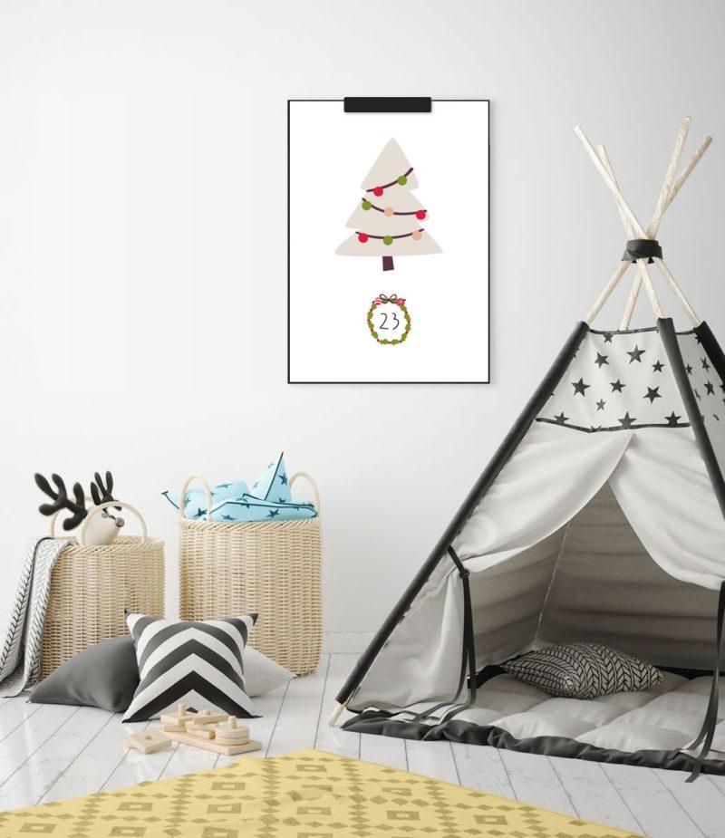 Kinder-Adventskalender mit 24 weihnachtlichen Wandbildern (Druckvorlage, A4) | Filizity.com | Interior- & DIY-Blog und Shop #printable #download #weihnachten #adventskalender