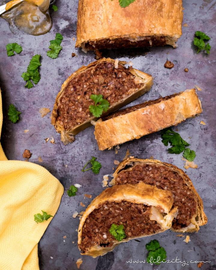 Veganer Hackbraten in Blätterteig – Rezept ohne Fleisch-Ersatzprodukte