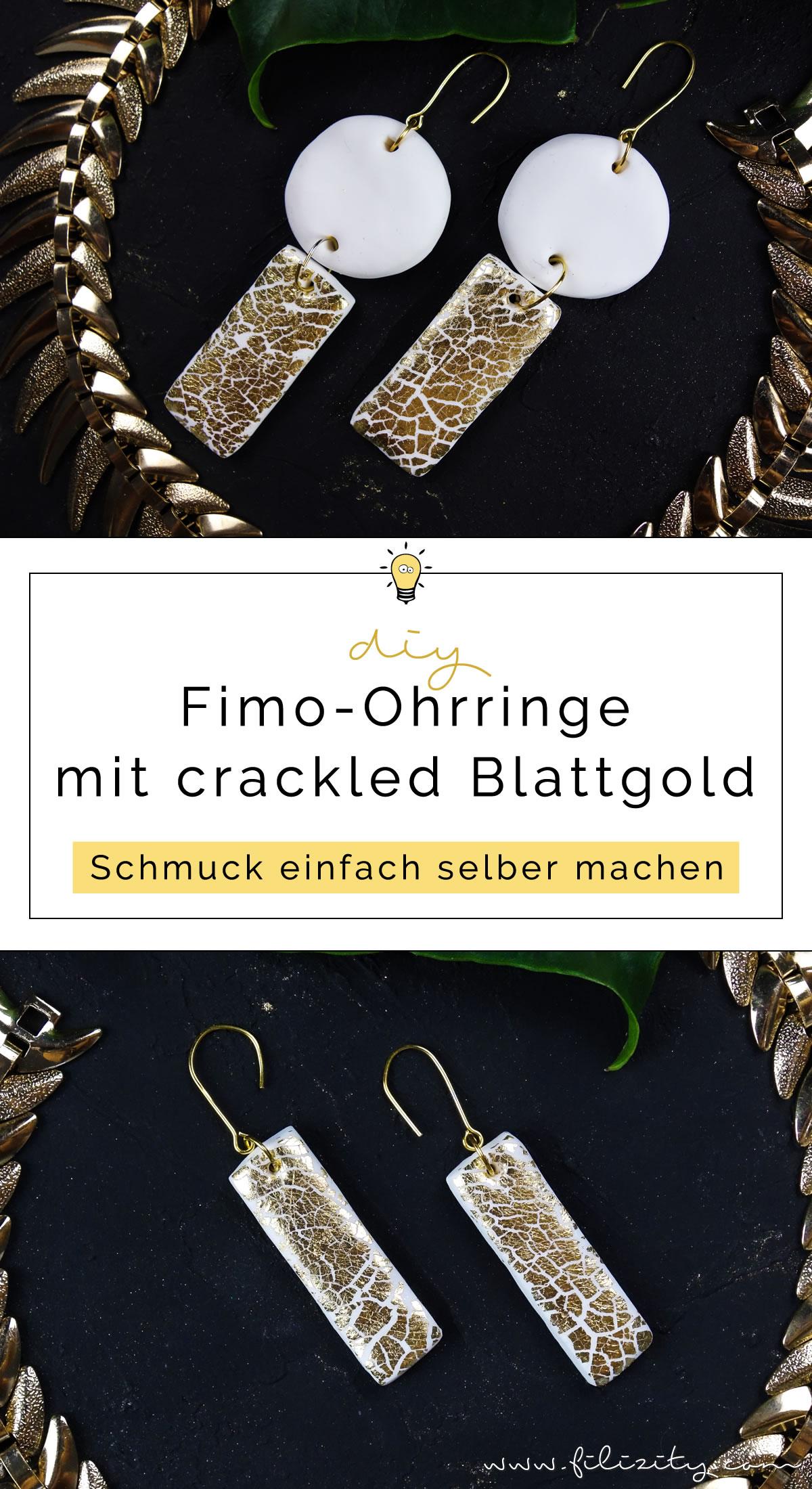 DIY Fimo Ohrringe mit Crackle-Gold | Fimo Schmuck selber machen - 5 Blogs 1000 Ideen | Filizity.com | DIY-Blog aus dem Rheinland #fimo #gold #crackle #krakelierlack