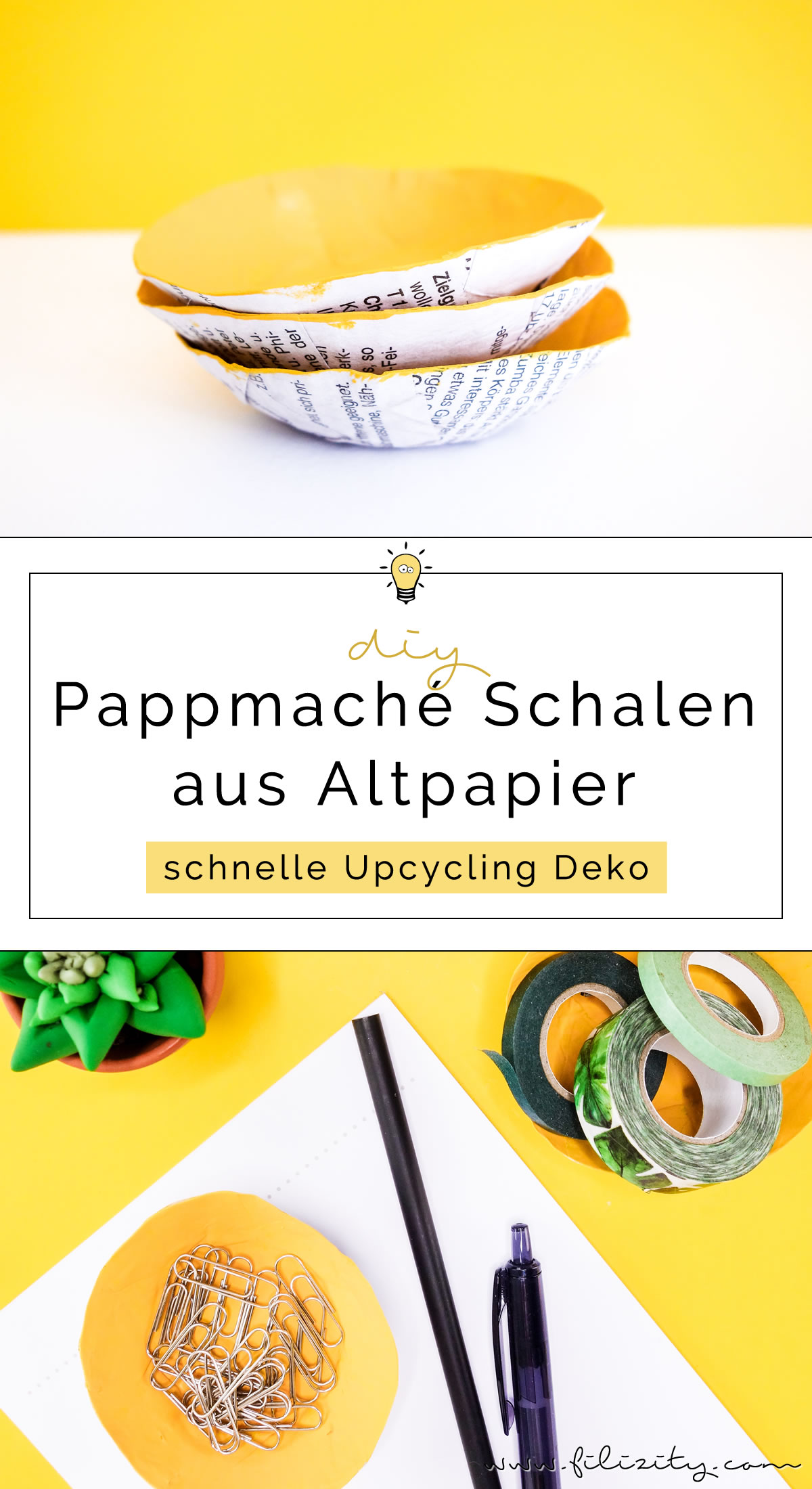 DIY Pappmaché Schalen aus Altpapier - 5 Blogs 1000 Ideen | Filizity.com - DIY Blog aus dem Rheinland