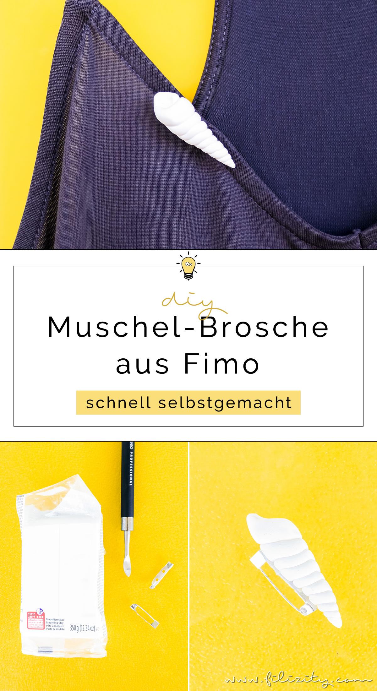 DIY Muschel-Brosche aus Fimo oder Kaltporzellan selber machen | Sommer-Schmuck basteln | Filizity.com - DIY-Blog aus dem Rheinland #myfimo #fimo #kaltporzellan #sommer