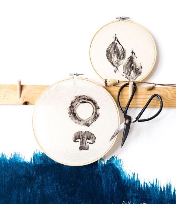 Stoff bedrucken mit DIY Stempeln – Deko für die Küche selber machen – 5 Blogs 1000 Ideen