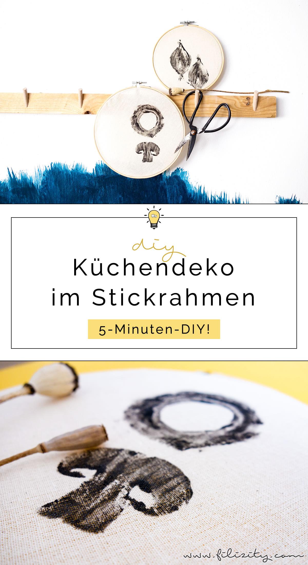 Stoff bedrucken mit DIY Stempeln - Deko für die Küche selber machen - 5 Blogs 1000 Ideen | Filizity.com - DIY Blog aus dem Rheinland #shabbychic #stempel #lastminute