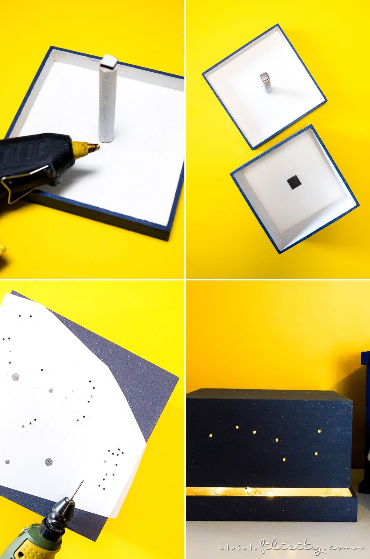 DIY Nachtlicht mit Sternenhimmel - Kinderzimmer-Lampe aus Spanschachtel basteln | Einfache Upcycling-Idee | Filizity.com - DIY Blog aus dem Rheinland