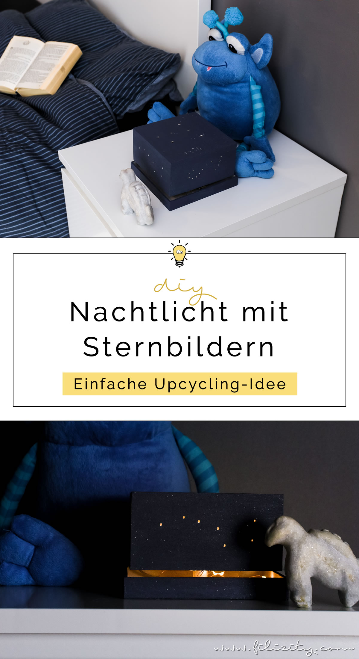 DIY Nachtlicht mit Sternenhimmel - Lampe selber bauen aus Spanschachtel | Einfache Upcycling-Idee | Filizity.com - DIY Blog aus dem Rheinland