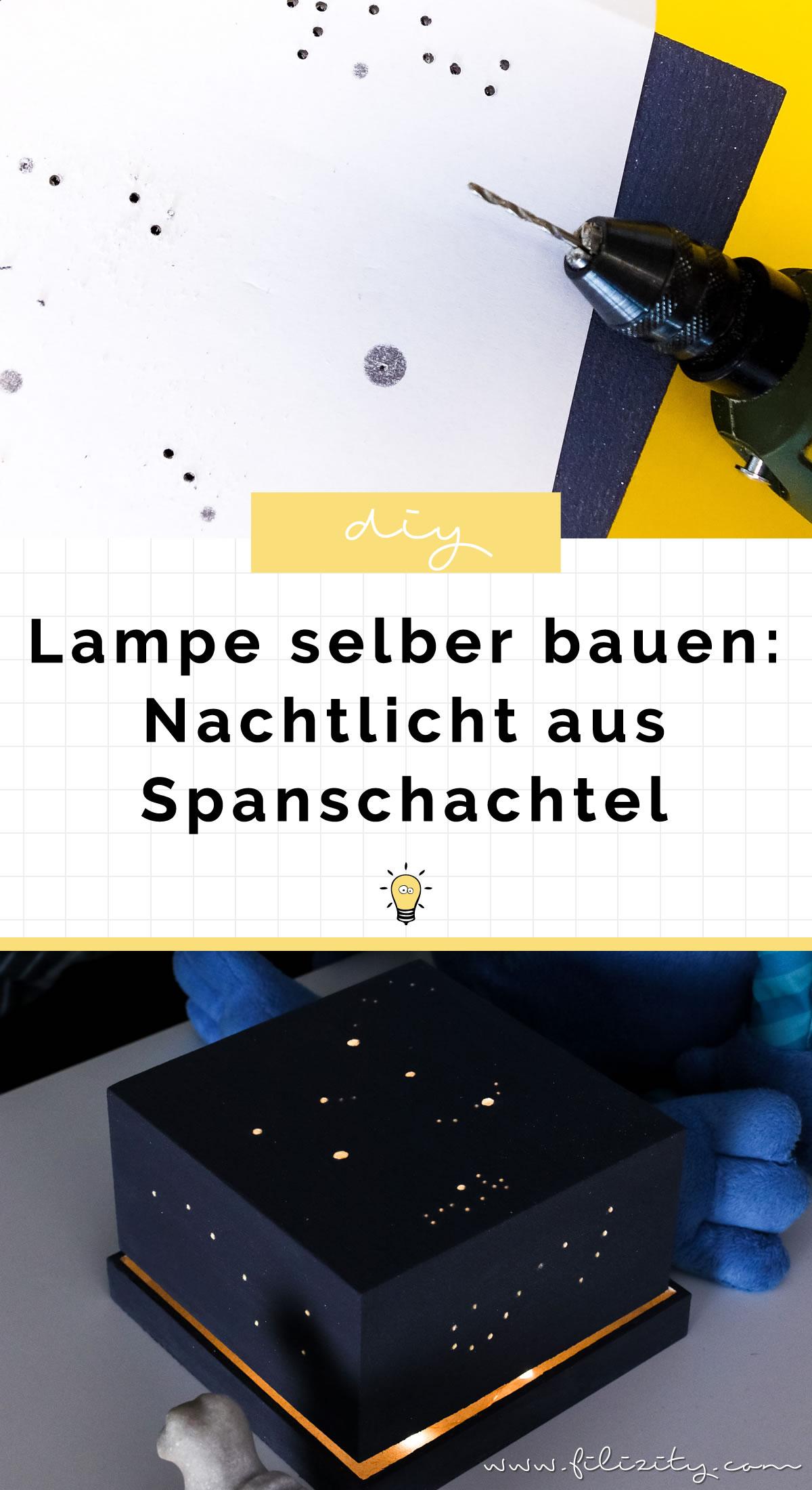 DIY Nachtlicht mit Sternenhimmel - Lampe selber bauen aus Spanschachtel   Einfache Upcycling-Idee   Filizity.com - DIY Blog aus dem Rheinland