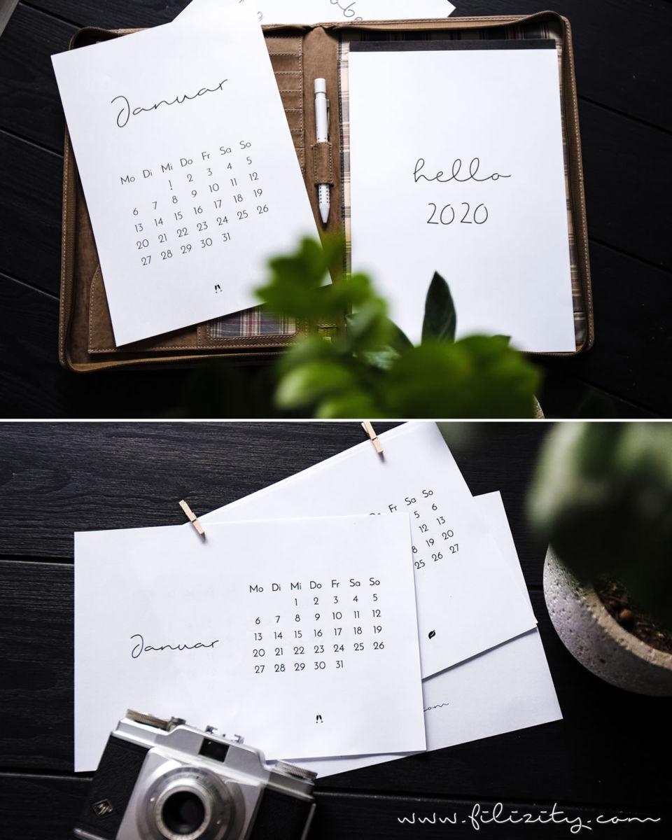 Minimalistischer Wand- & Tisch-Kalender 2020 – Druckvorlage
