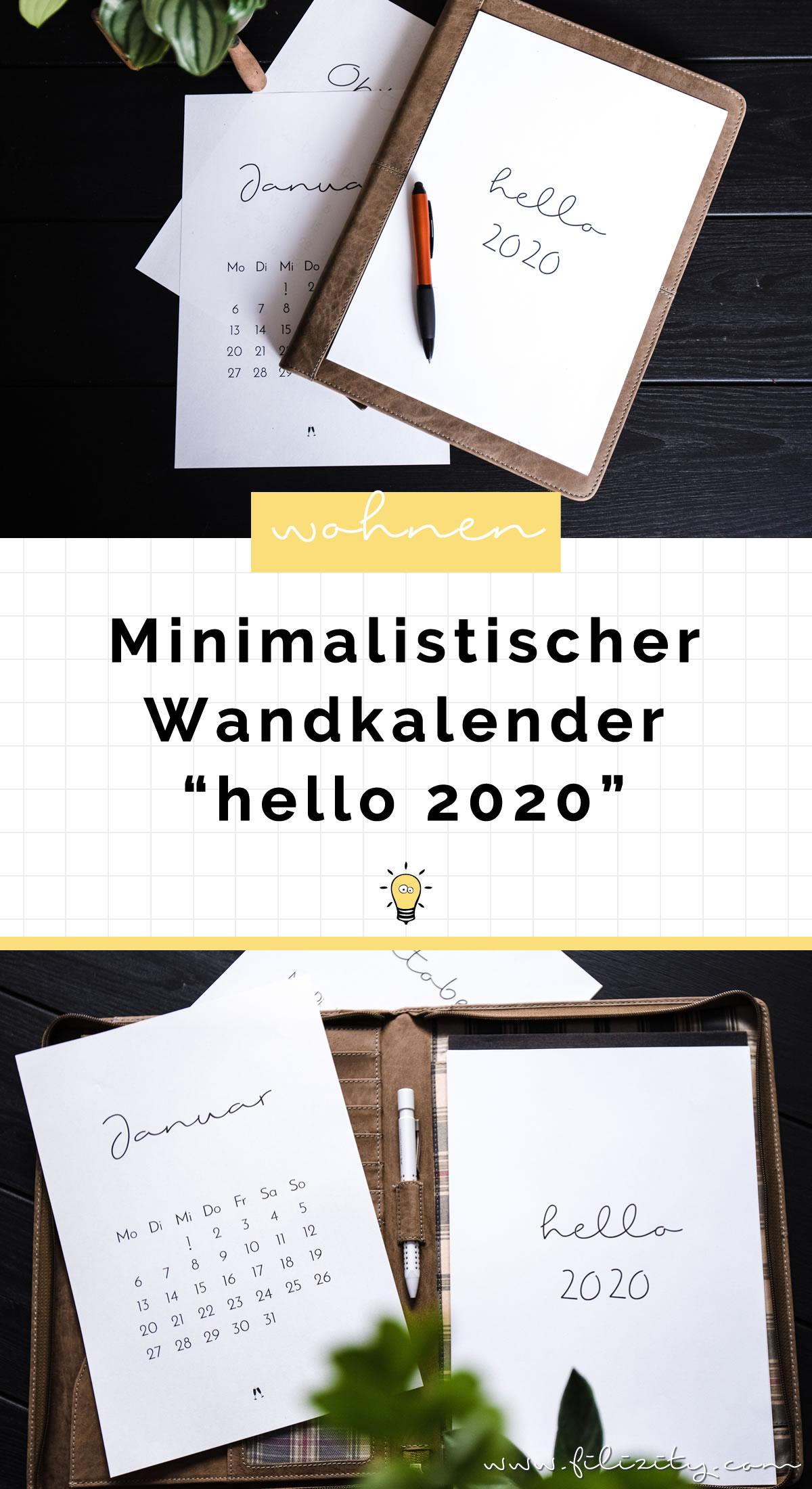 Minimalistischer Wand- & Tisch-Kalender 2020 - Druckvorlage | Filizity.com - Interior & DIY Blog und Shop