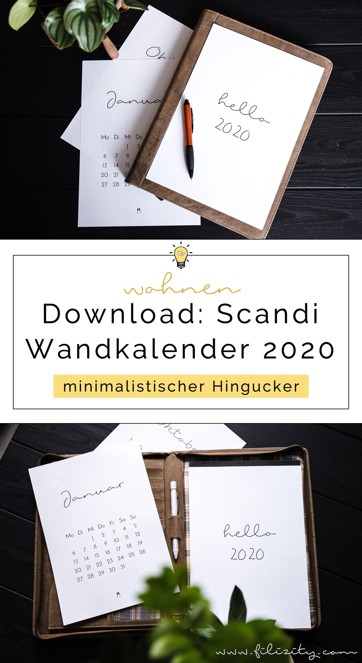 Minimalistischer Wand- & Tisch-Kalender 2020 - Druckvorlage   Filizity.com - Interior & DIY Blog und Shop