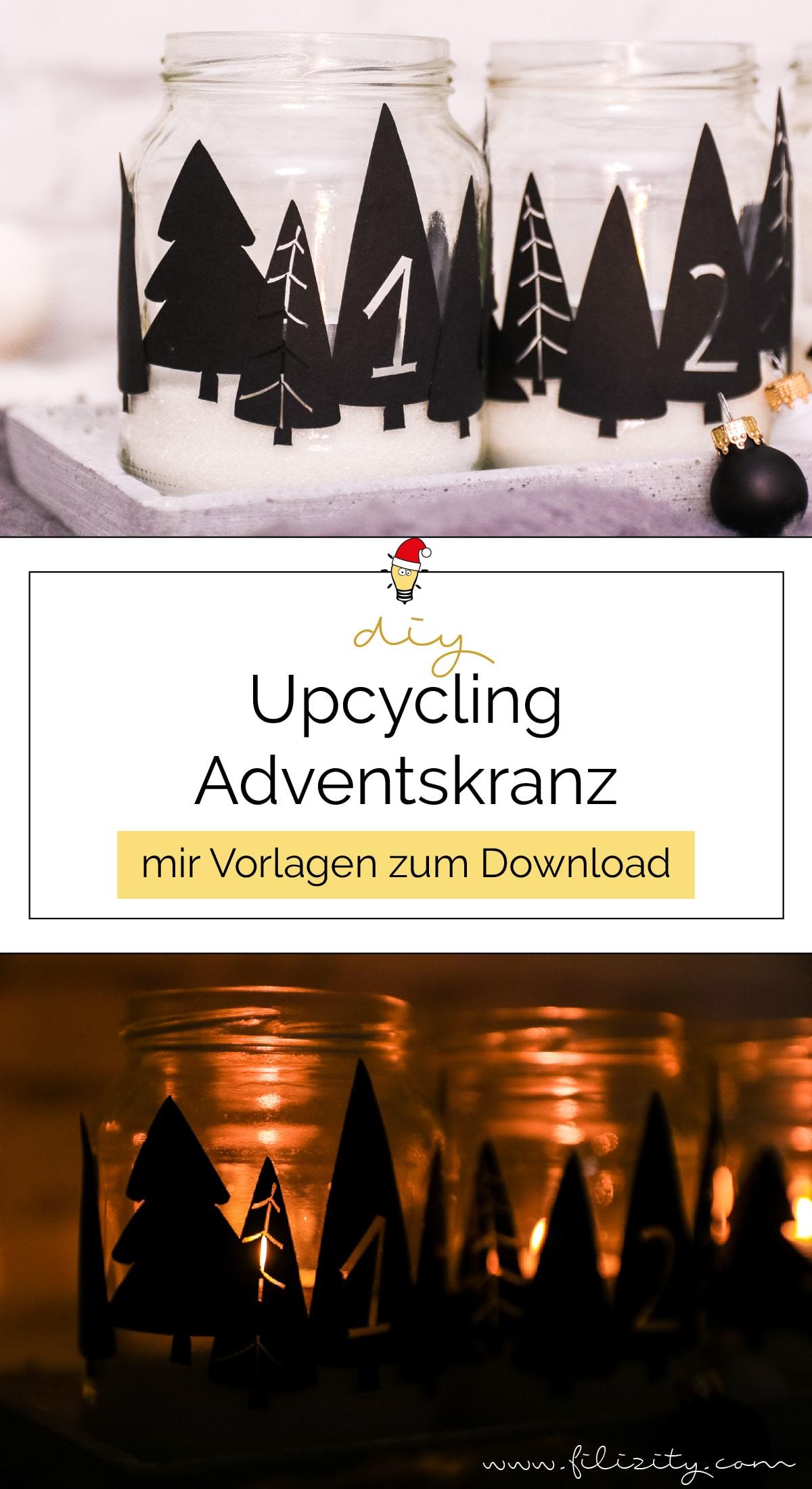 Zero Waste Adventskranz basteln: Upcycling-Idee mit Einmachgläsern (mit Plotterdateien & Druckvorlage) | Filizity.com - DIY Blog aus dem Rheinland