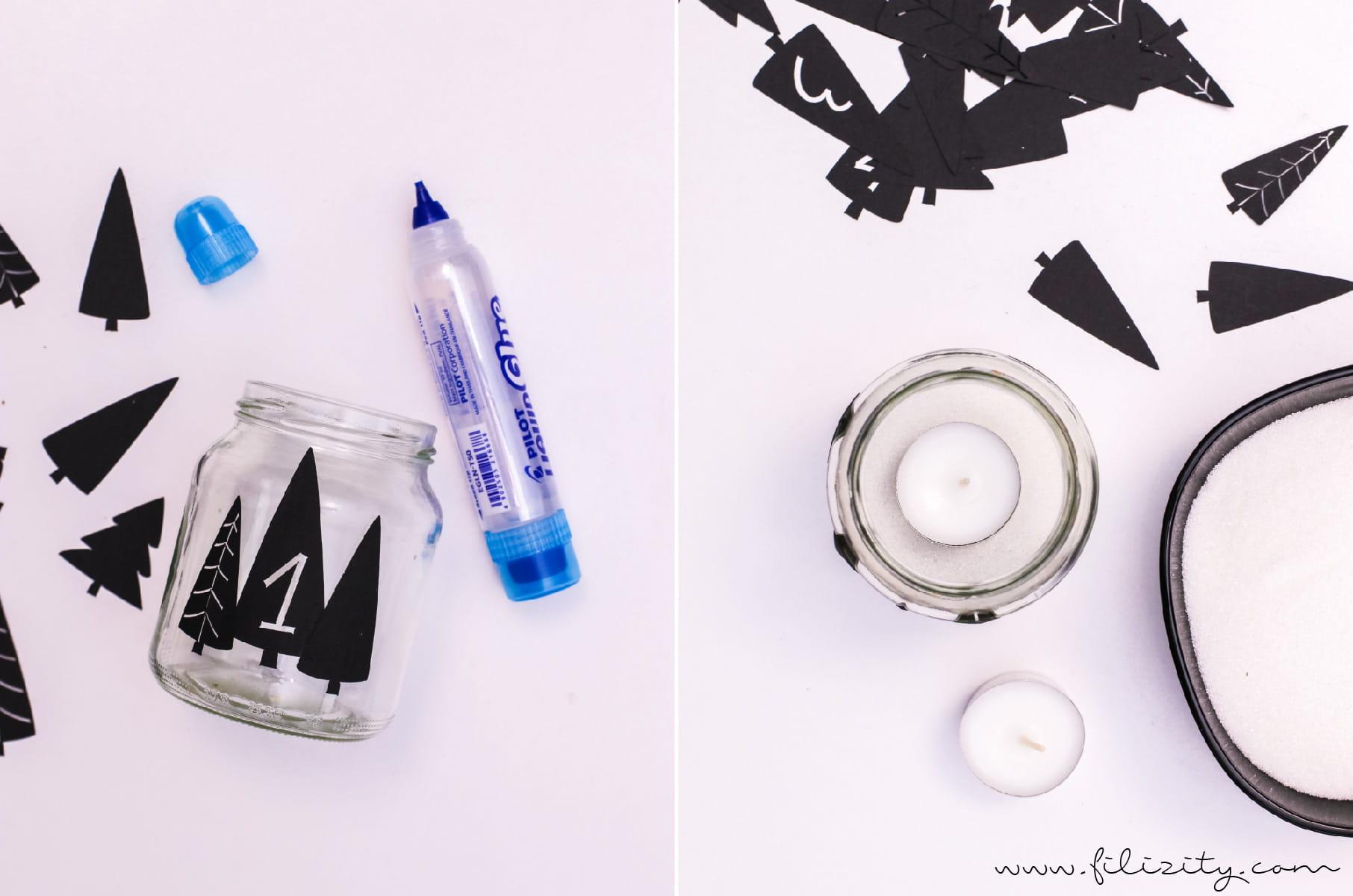 DIY Zero Waste Adventskranz: Upcycling-Idee mit Einmachgläsern (mit Plotterdateien & Druckvorlage) | Filizity.com - DIY Blog aus dem Rheinland