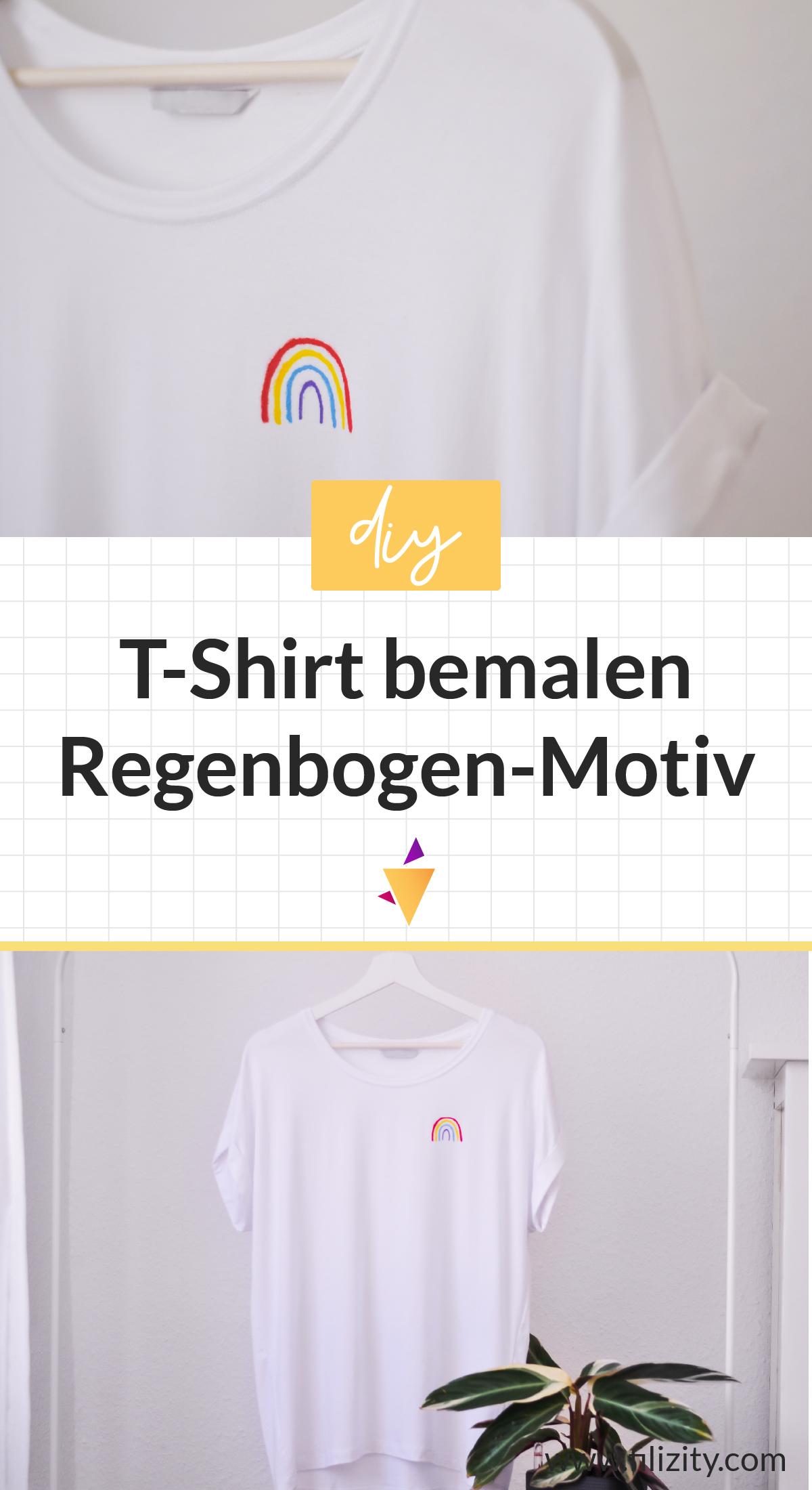 DIY Regenbogen: T-Shirt bemalen, Hoffnung schenken | Filizity.com - Kreativmagazin & DIY Blog #corona #regenbogen #wirbleibenzuhause #upcycling