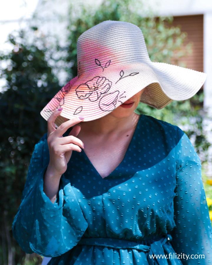 Sommer DIY: Sommerhut bemalen mit trendigen Line Art Blumen | Filizity. Kreativmagazin & DIY Blog