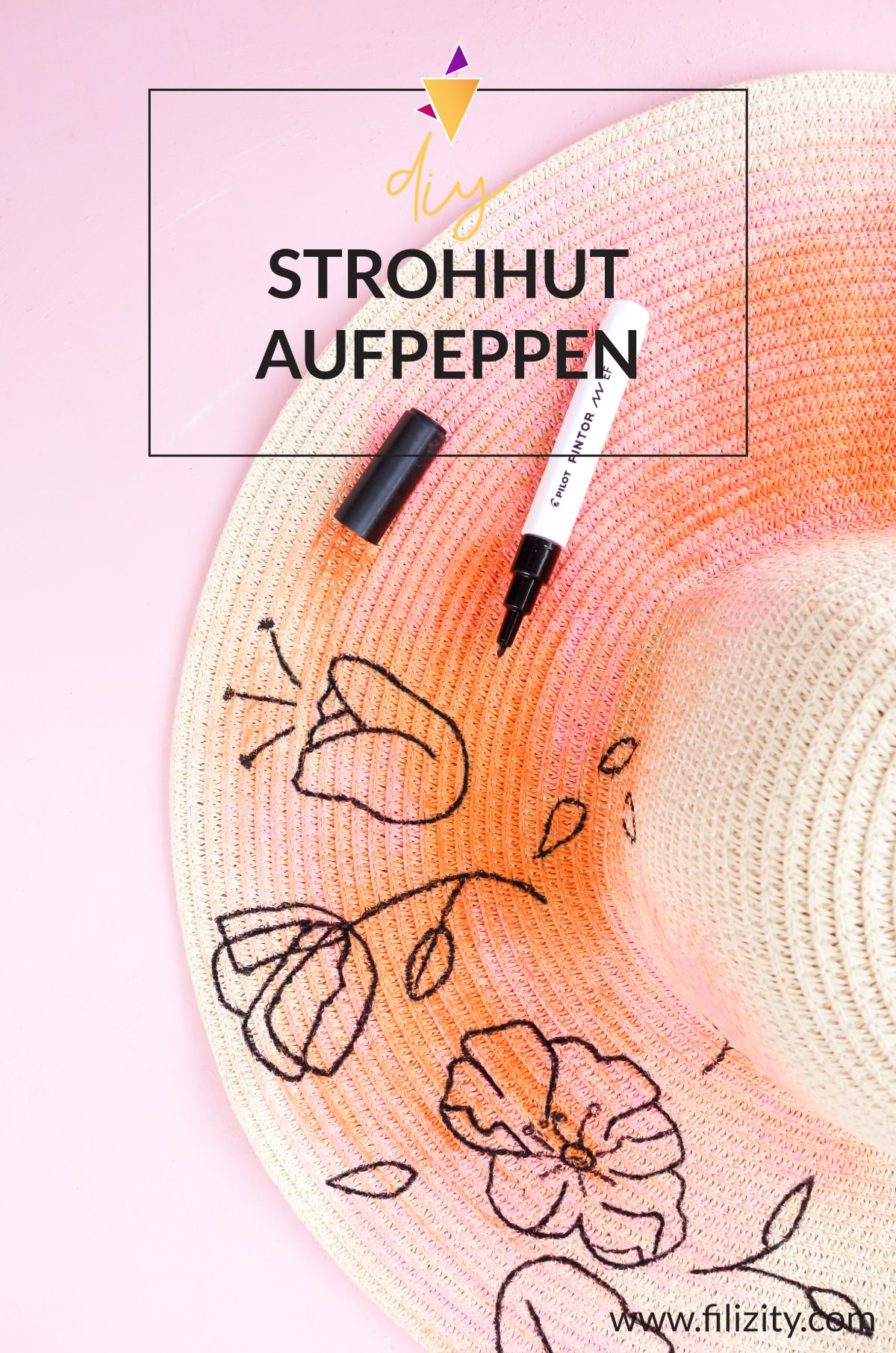 Sommer DIY: Sommerhut bemalen mit trendigen Line Art Blumen | Filizity. Kreativmagazin & DIY Blog #sommer #aquarell #lineart #pintor